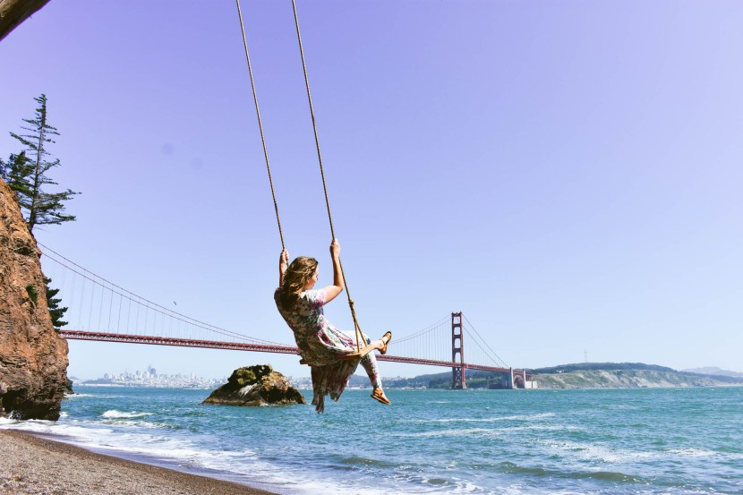 Stunning views of the San Francisco skyline from the Kirby Cove swing