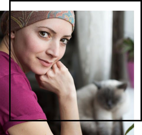 smiling woman with cat