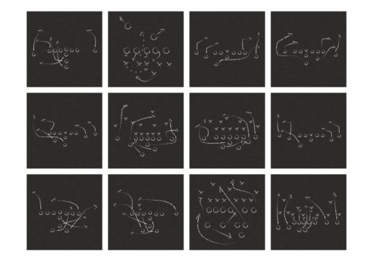 Different chalk boards depicting different game strategies for football. Strategic Design at play!