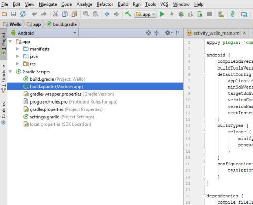 opening Gradle build file