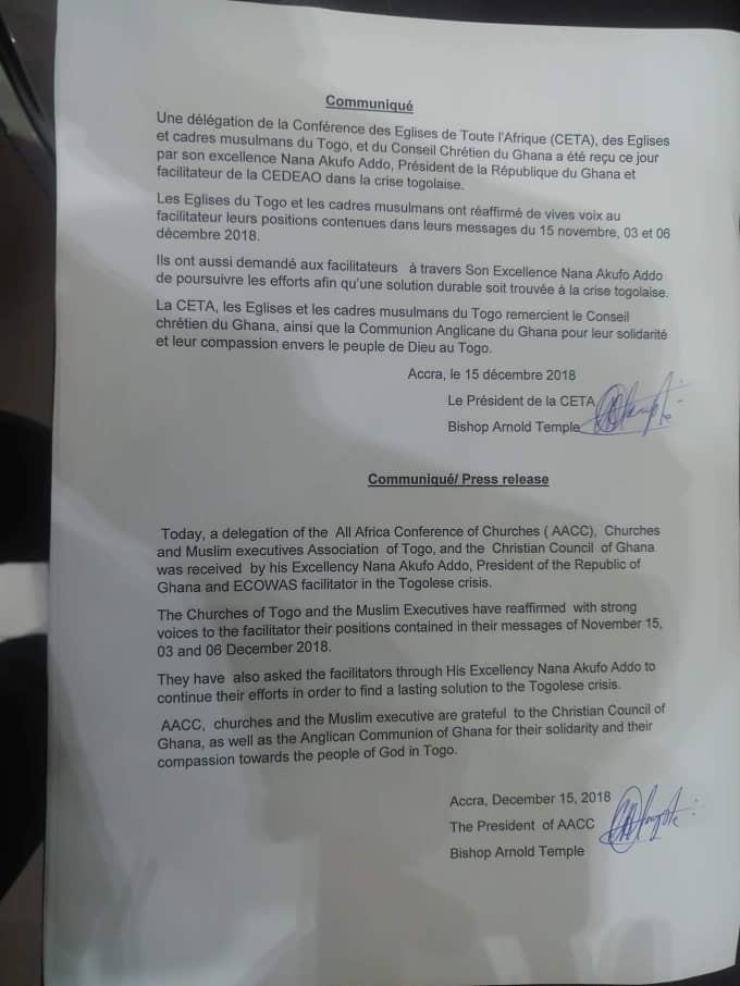 38c5df08 a9c7 4a39 9d26 5e30d526b6cb Togo: ce que les confessions religieuses et Nana Akufo-Addo se sont dits à Accra