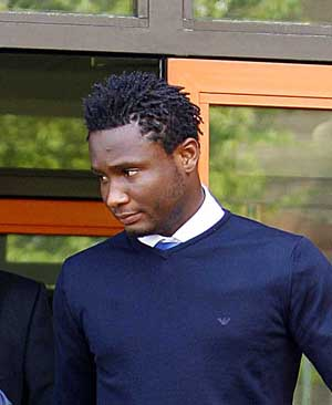 24th  April 2009.  John Michael Nchekwube Obinna (Jon Obi Mikel) of Chelsea Football Club leaves  West London Magistrates after pleading guilty to Drink Driving, and recieving a 15 month ban.
