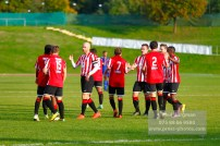 22/10/2016. Guildford City v North Greenford United. City's Mario EMBALO celebrates his 2nd