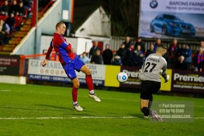 07/01/2017. Aldershot Town v Southport FC. Goalkeeper blocks Scot RENDELL's shot
