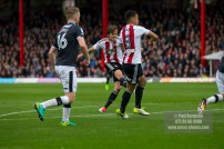 14/04/2017. Brentford FC v Derby County FC. Match Action. Brentford's Lasse VIBE scores