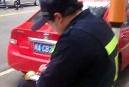 中国の駐車料金回収員