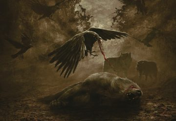 Åskog album cover featuring a carrion bird eating a dead wolf.