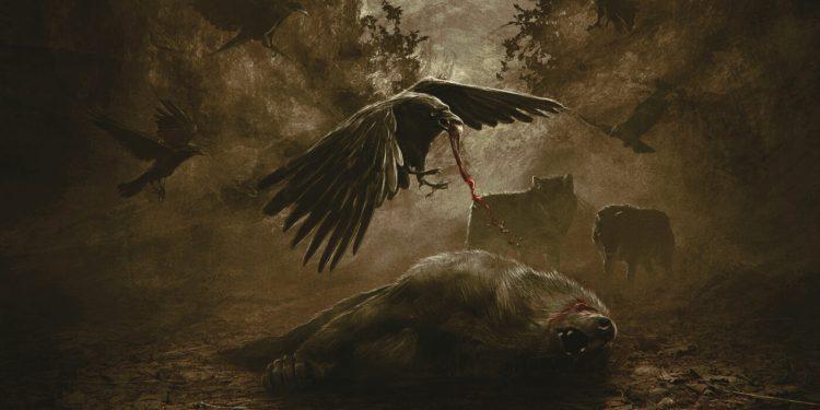 Åskog album cover featuring a carrion bird eating a dead wolf.