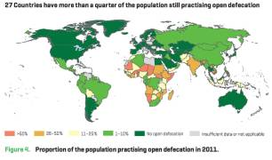 Map showing the levels of open defecation around the globe with the most being in Sub-Saharan Africa and India