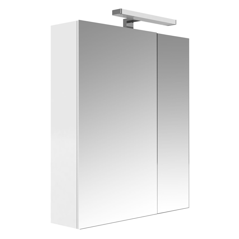 Armoire De Toilette Eclairante 2 Portes Juno L 60 X H 75 Cm Blanc Toilinux