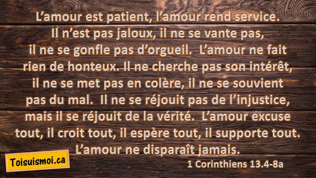 1 Corinthiens 13.4-8a