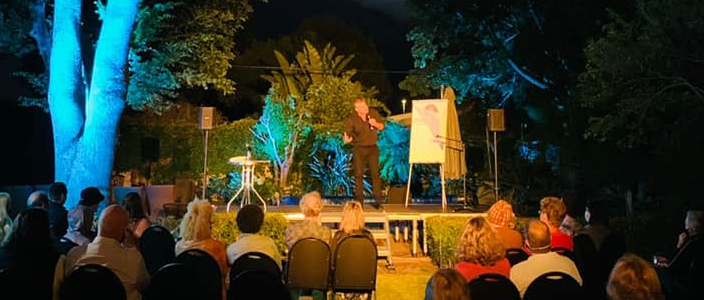 Catch comedian Alan Committie performing live in a beautiful outdoor setting in Tokai this weekend