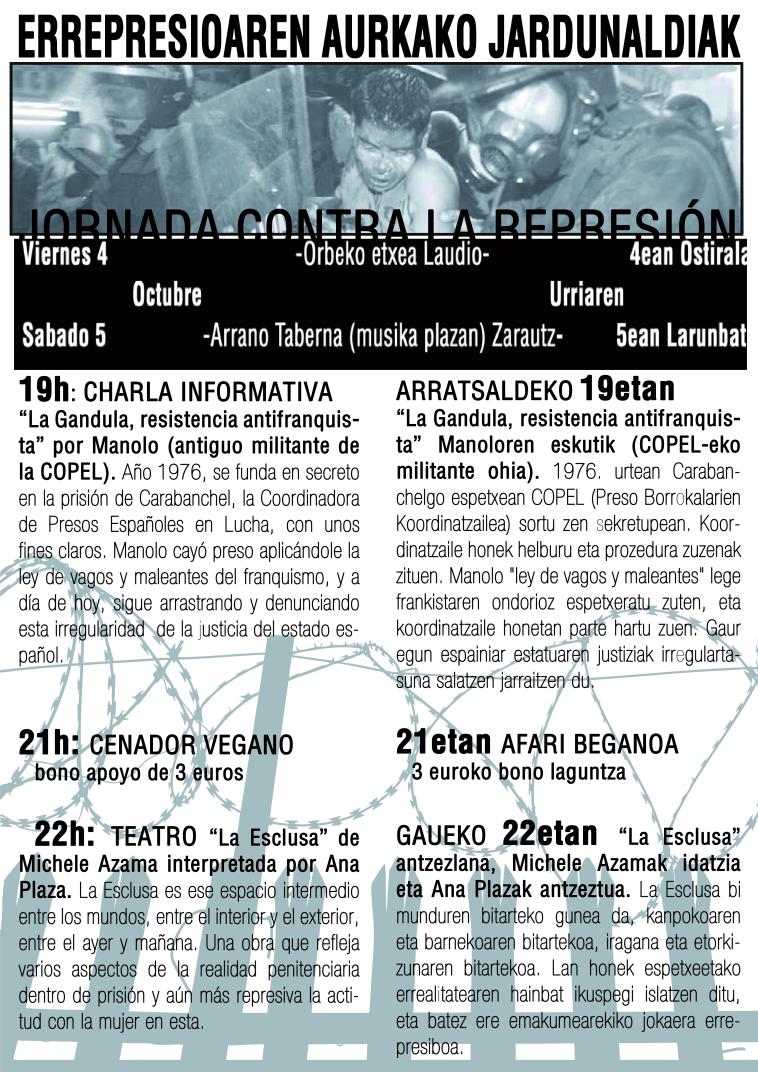 jornadas contra la represión en Laudio y Zarautz
