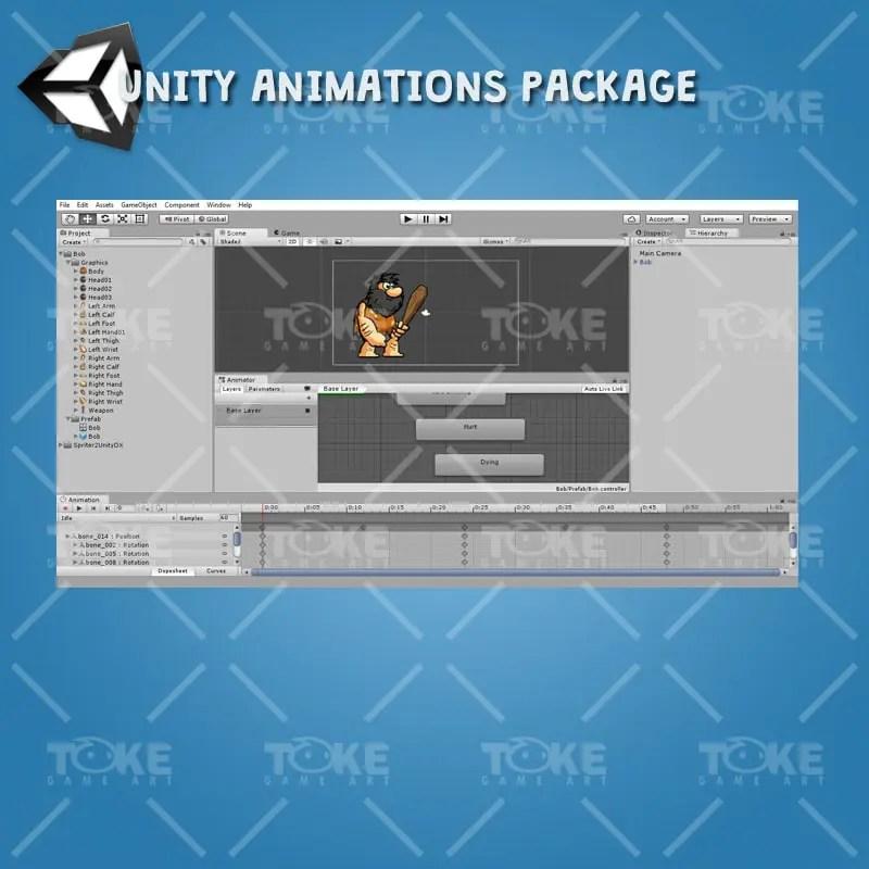Bob The Caveman - Unity Animation Ready