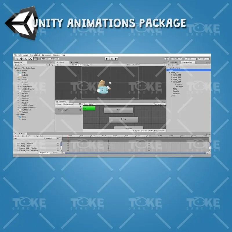 Boky The Cute Cube - Unity Animation Ready