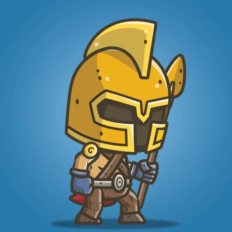 Chibi Knight Gladiator - 2D Character Sprite