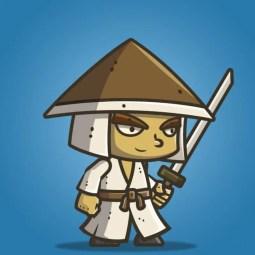 Chibi Samurai Conical Hat - 2D Character Sprite