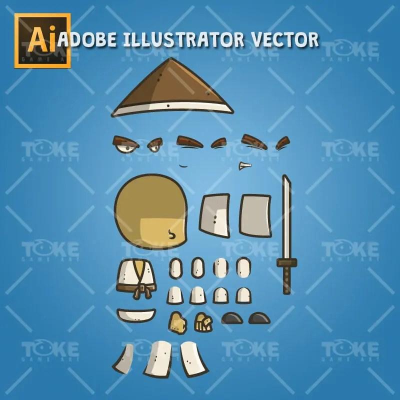 Chibi Samurai Conical Hat - Adobe Illustrator Vector Art Based