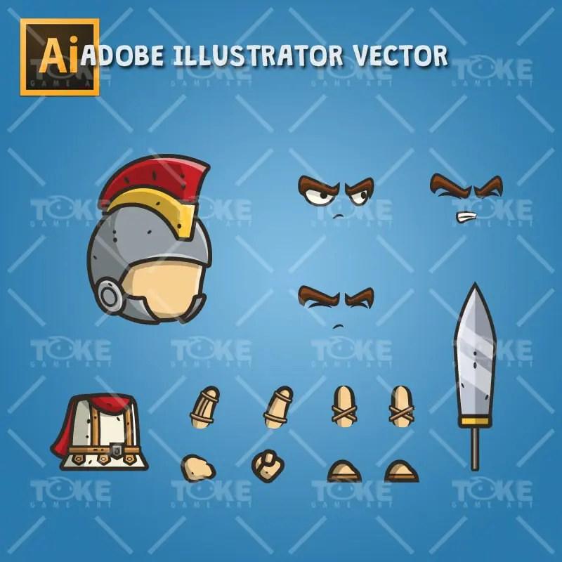 Micro Style Character Roman Knight - Adobe Illustrator Vector Art Based