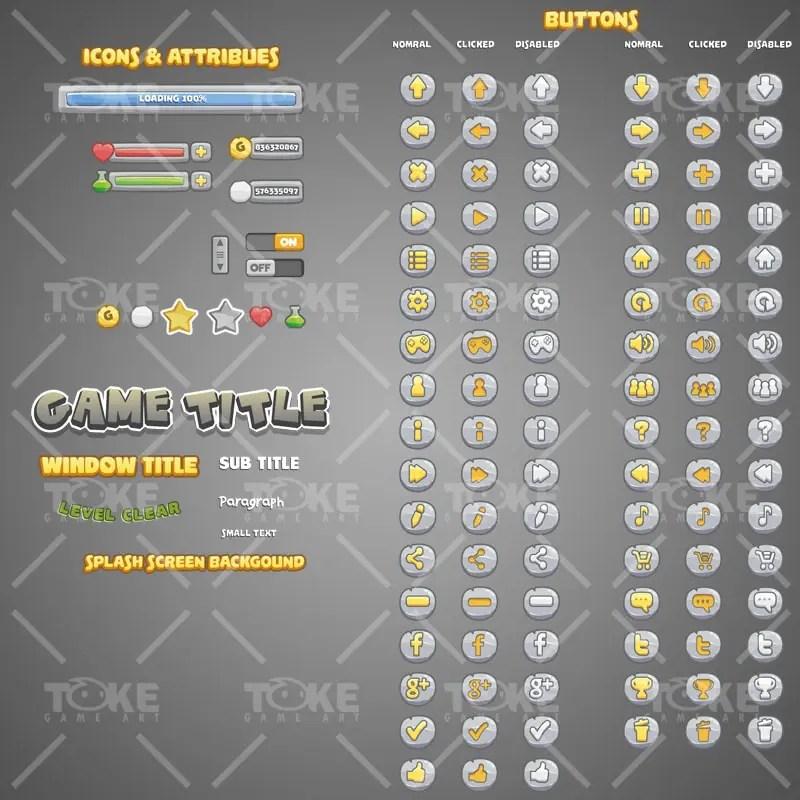 Stone Age Themed Game UI - Button - Adobe Illustrator Vector Art Based