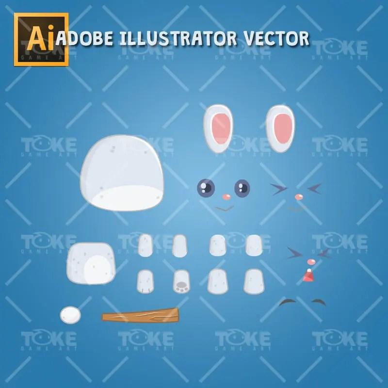 The Cute Rabbit Boy - Adobe Illustrator Vector Art Based