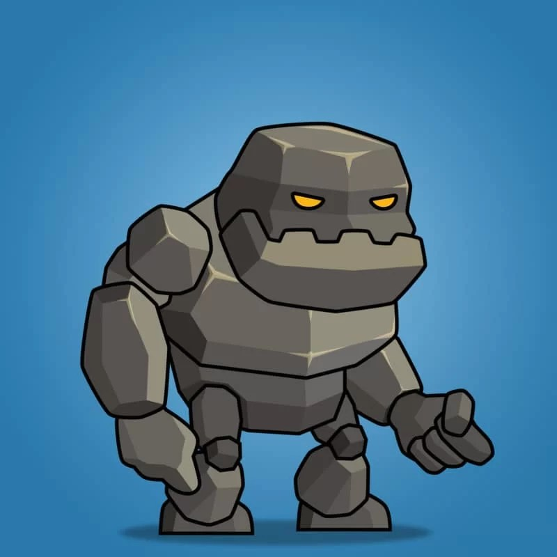Tiny Rock Monster - 2D Character Sprite