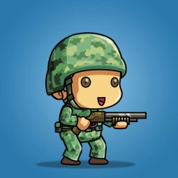Tiny US Soldier – 2D Character Sprite