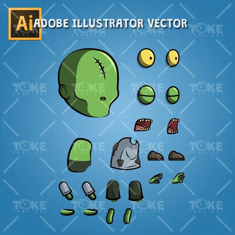 Scar Forehead Zombie - Adobe Illustrator Vector Art Based