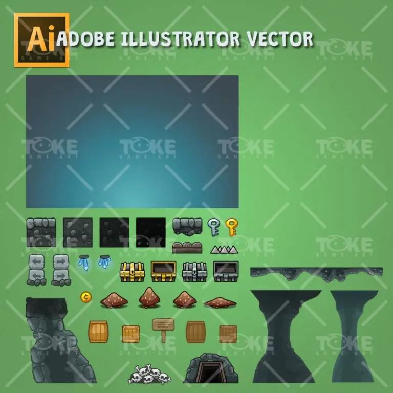 Cartoon Cave Platformer Tileset - Adobe Illustrator Vector Art Based