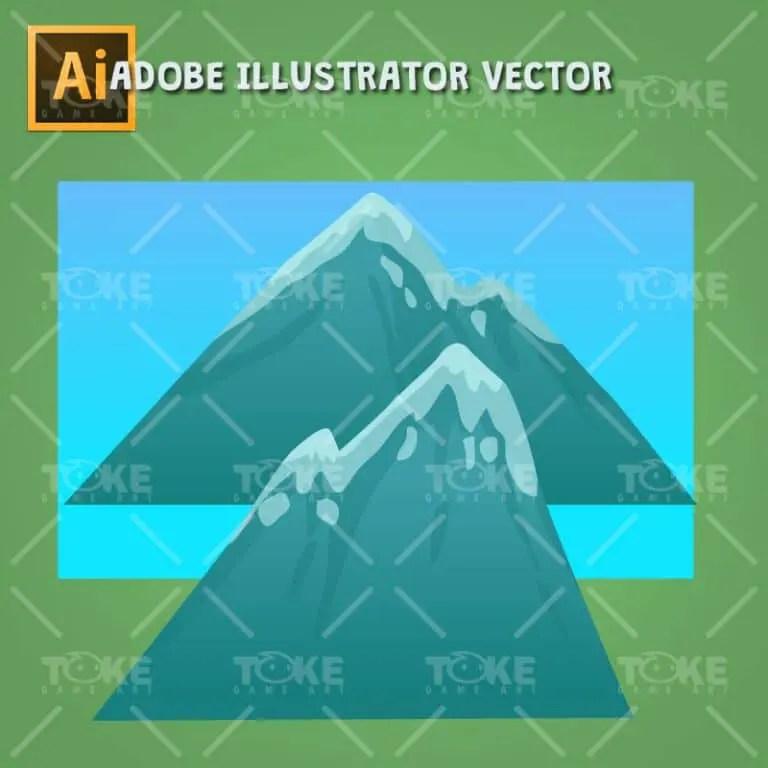 Cartoon Style Forest Platformer Tileset - Background - Adobe Illustrator Vector Art Based