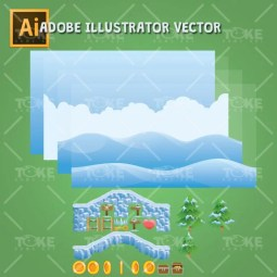 Snowy Game Tileset - Adobe Illustrator Vector Art Based