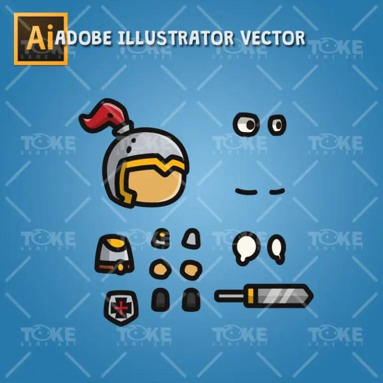 Tiny Character Sprite - Knight - Adobe Illustrator Vector Art Based