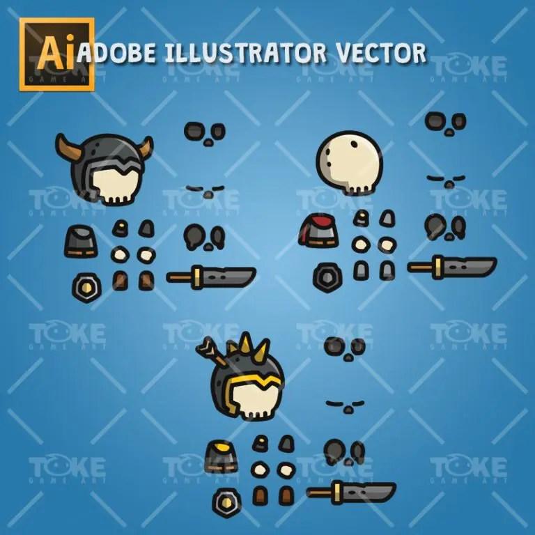 Tiny Style Character Skull - Adobe Illustrator Vector Art Based