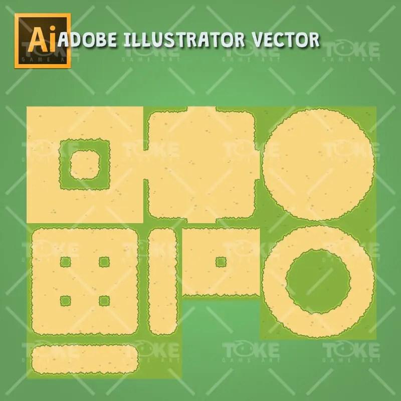 Top-down Forest Tileset - Tileable Ground - Adobe Illustrator Vector Art Based