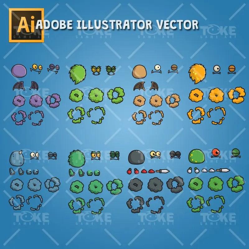 Cartoon Enemy Pack 01 - Adobe Illustrator Vector Art Based