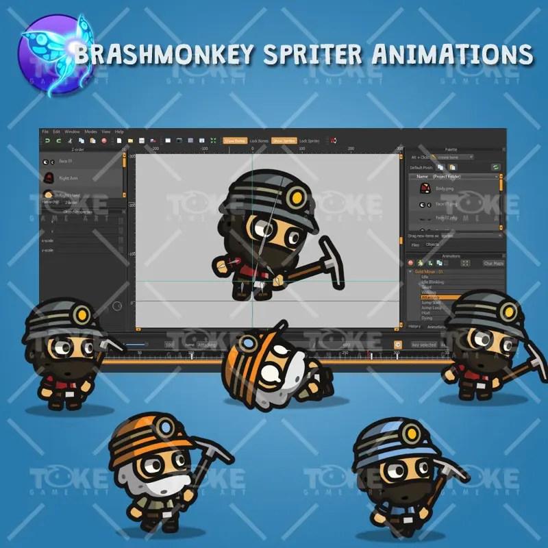 Gold Miner Tiny Style Character - Brashmonkey Spriter Animation