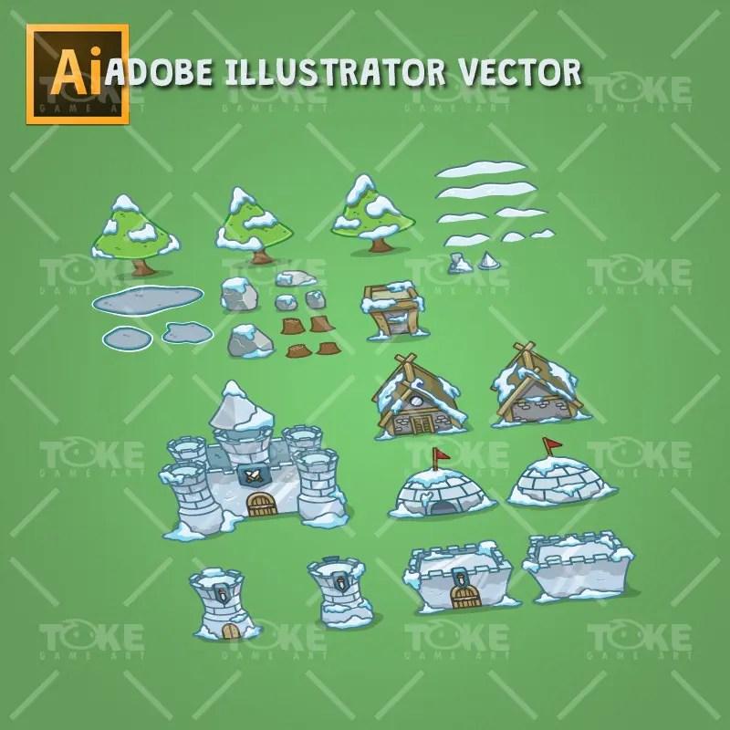 Top-Down Snowy Tileset - Adobe Illustrator Vector Art Based