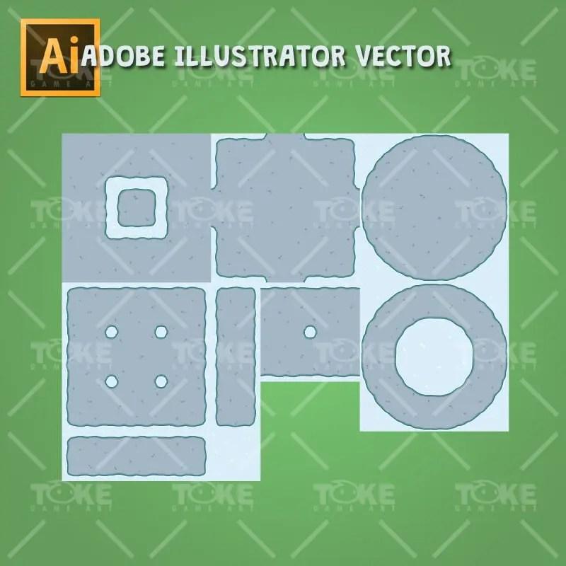 Top-Down Snowy Tileset - Tileable Ground - Adobe Illustrator Vector Art Based