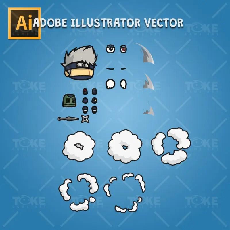 Shinobi 04 - Kakashi Hatake - Adobe Illustrator Vector Art Based