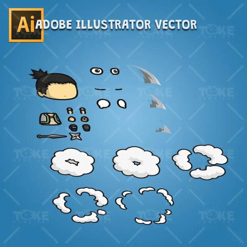 Pigtail Shinobi Guy - Adobe Illustrator Vector Art Based