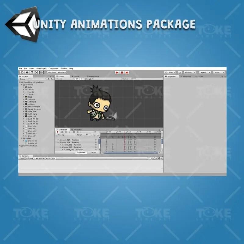 Pigtail Shinobi Guy - Unity Animation Ready