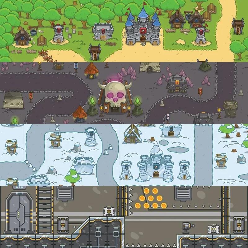 2D Game Platformer Tileset - Forest - Dungeon - Snowy - Spaceship