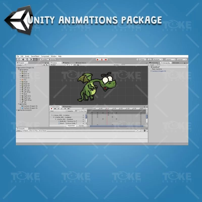 Cartoon Dragon - Unity Animations Ready