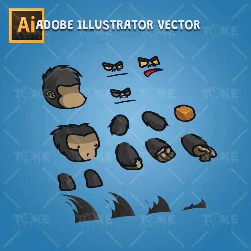 Cartoon Gorilla - Adobe Illustrator Vector Art Based