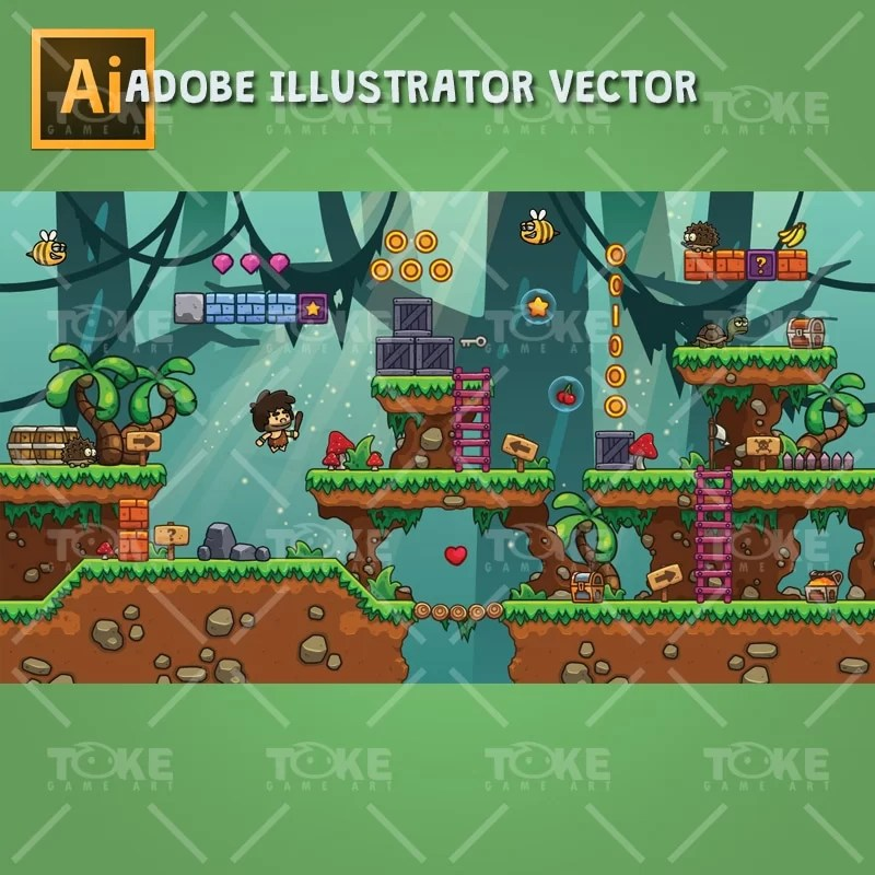 Cartoon Jungle Game Tileset - Landscape Game Preview