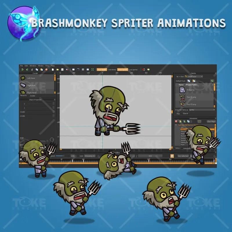 Cartoon Old Farmer Zombie - Brashmonkey Spriter Animation