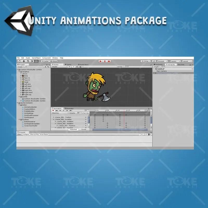 Cartoon Woodcutter Zombie - Unity Animation Ready