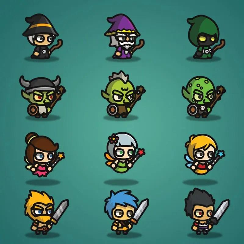 Super Tiny Bundle - 2D Character Sprite - Wizard - Goblin - Fairy - Warrior