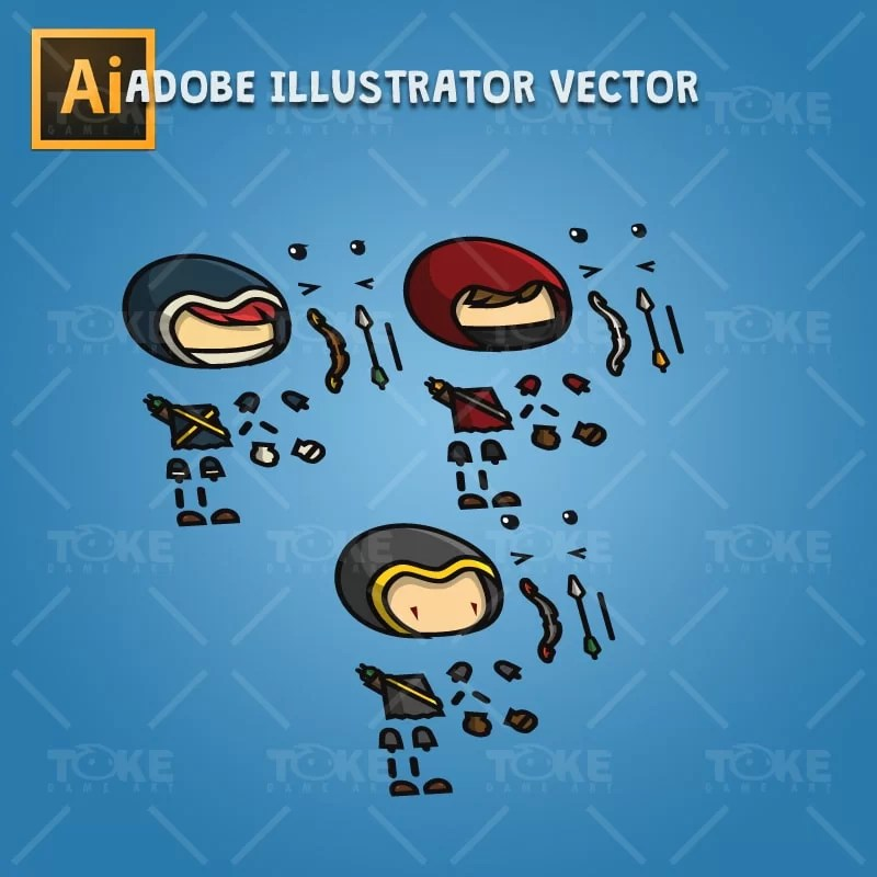 Archer Character Pack - Adobe Illustrator Vector Art Based Character