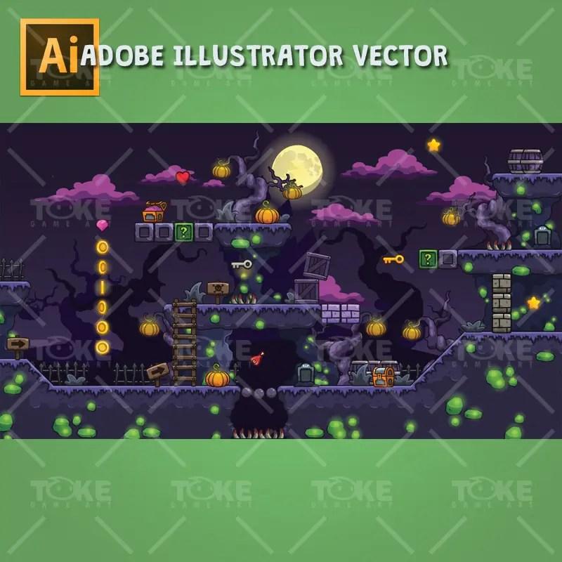 Cartoon Spooky Level Set - 2D Side Scrolling Horror Games